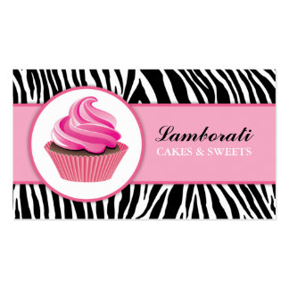 Cupcake Bakery Zebra Print Pink Elegant Modern Pack Of Standard Business Cards