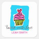 Cupcake Baking Labels Square Sticker