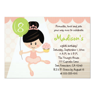Cupcake Ballerina Birthday Asian Dark Hair Card