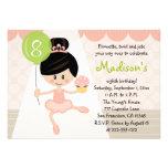 Cupcake Ballerina Birthday Asian Dark Hair Custom Invitation