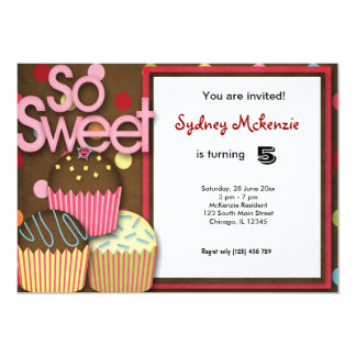 "Cupcake Birthday 5"" X 7"" Invitation Card"