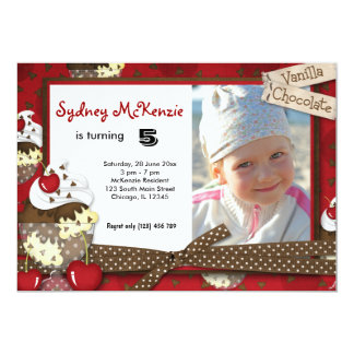 "Cupcake Birthday 5"" X 7"" Invitation Card"