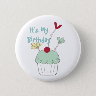 Cupcake birthday badge with cherry and flowers 2 inch round button