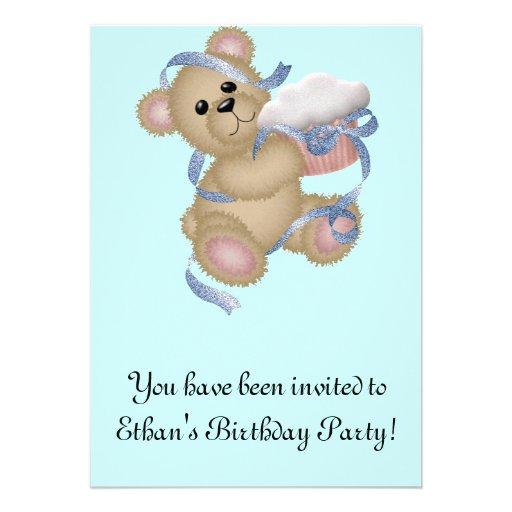 Cupcake Birthday Bear Invitation