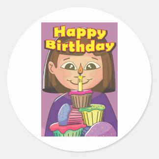 Cupcake birthday girl round sticker