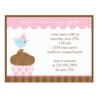 Cupcake Birthday Party Invitation Postcard