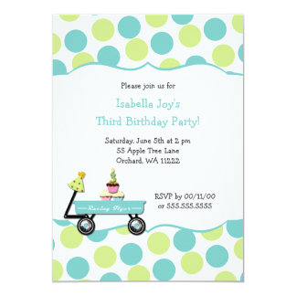 "Cupcake birthday party invite for 3 year old THIRD 5"" X 7"" Invitation Card"