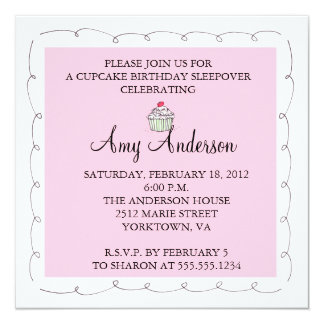 "Cupcake Birthday Sleepover! 5.25"" Square Invitation Card"