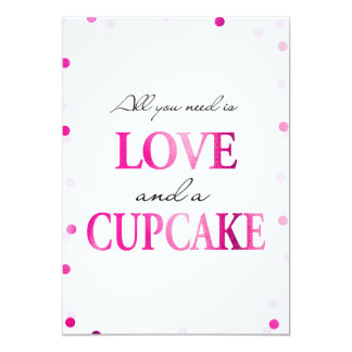 Cupcake Bridal Shower Sign | Pink Magenta Confetti Card