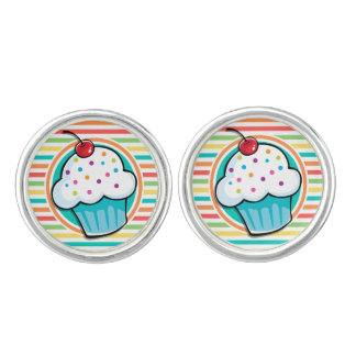 Cupcake; Bright Rainbow Stripes Cuff Links