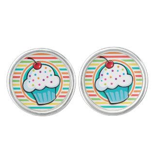 Cupcake; Bright Rainbow Stripes Cufflinks