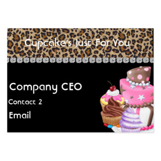 CUPCAKE  Business Card CHEETAH ANIMAL PRINT