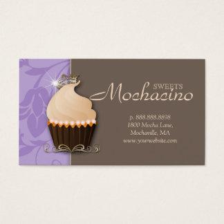 Cupcake Business Card Crown Purple Brown