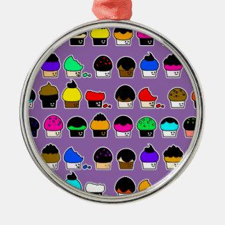Cupcake Cavalcade – Colorful Repeating Pattern Metal Ornament