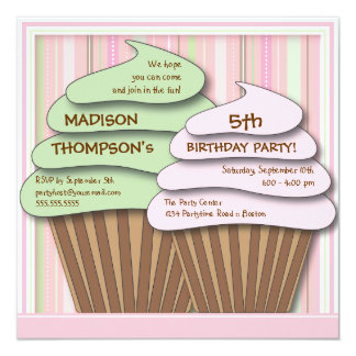 "Cupcake Celebration Birthday Party Invitation 5.25"" Square Invitation Card"