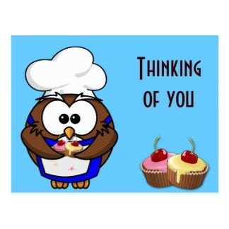 cupcake chef owl postcard