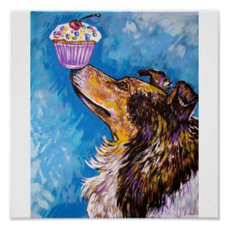 CUPCAKE COLLIE DOG POSTER