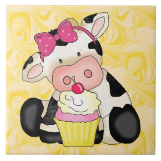 Cupcake Cow Cartoon Sweet Treat tile