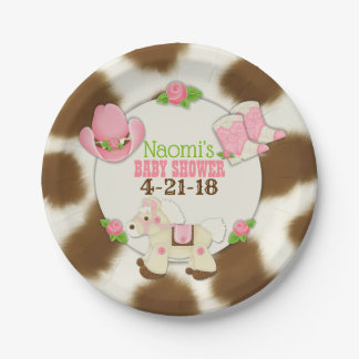 "Cupcake Cowgirl Baby Girl Shower 7"" Paper Plate"