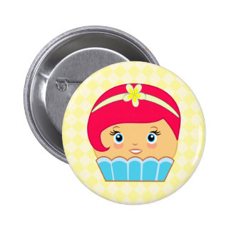 Cupcake Cute Kawaii Couture Blue Character Buttons Pinback Buttons
