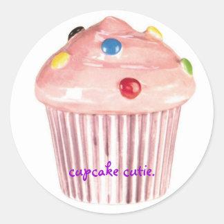 cupcake cutie classic round sticker