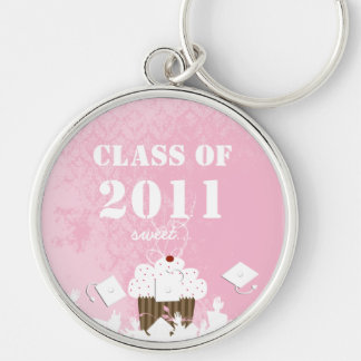 Cupcake Damask Class of 2011 Keychain Tossing Caps