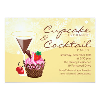 Cupcake Exchange & Cocktail Party Invitation-cream Card