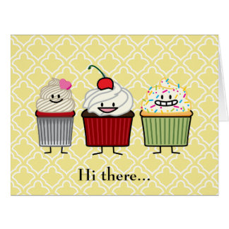 Cupcake family frosting sprinkles cherry cakes card