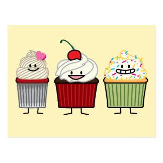 Cupcake family frosting sprinkles cherry heart postcard