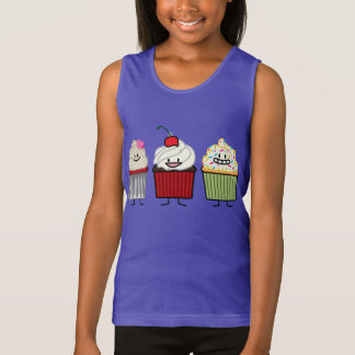 Cupcake family icing sprinkles cherry cakes heart tank top