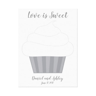 Cupcake Fingerprint Wedding Guest Book