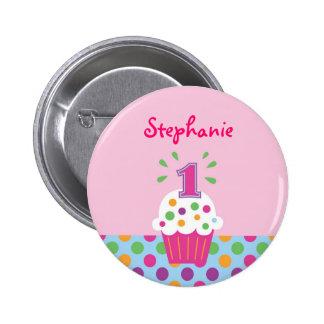 Cupcake First Birthday Button
