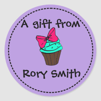 Cupcake Gift Tag Round Sticker