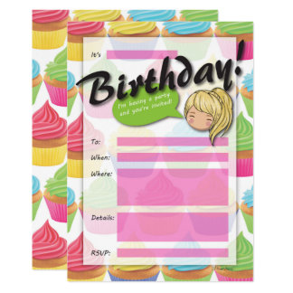 Cupcake Girl Birthday Invitation - Yellow Hair
