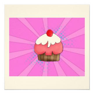 "CupCake Girl Card 5.25"" Square Invitation Card"