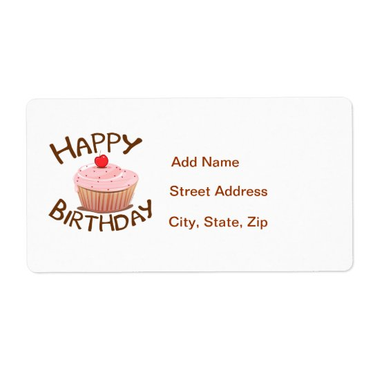 Cupcake Happy Birthday Shipping Label
