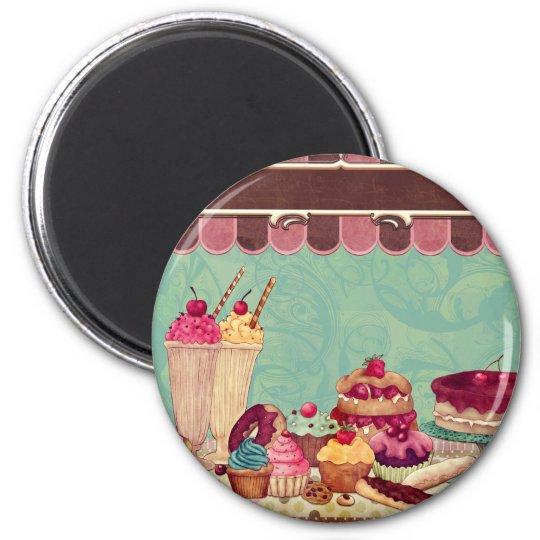 Cupcake & Ice Cream Patisserie 2 Inch Round Magnet
