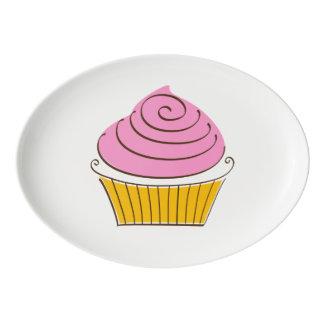 Cupcake Illustration Porcelain Serving Platter