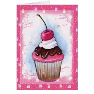 Cupcake in Pastel on Pink Background Cards