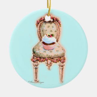 Cupcake in Victorian Chair Round Ceramic Ornament