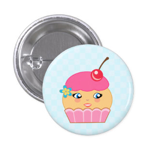 Cupcake Kawaii Pink Couture Character Round Button