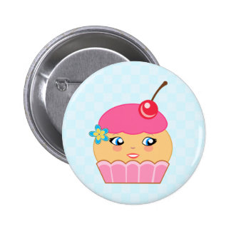 Cupcake Kawaii Pink Couture Character Round Button Buttons