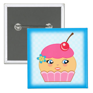 Cupcake Kawaii Pink Couture Character Square Badge Buttons