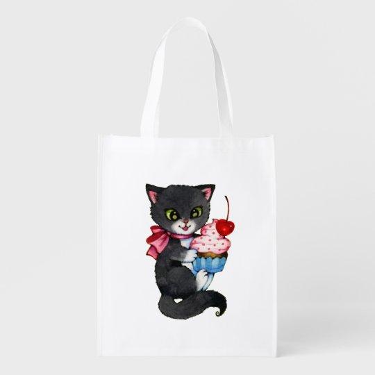 Cupcake Kitten - Cute cat art Grocery Bags