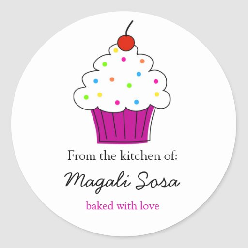 Cupcake labels, From the Kitchen Of... Round Sticker
