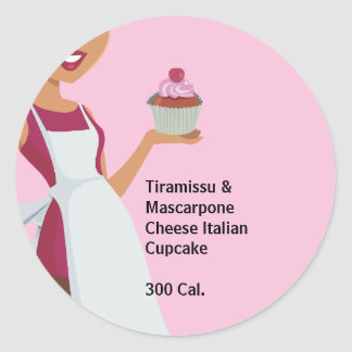 Cupcake Lady  Label Round