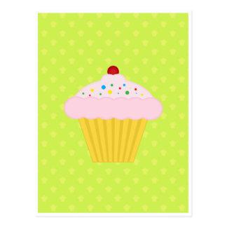 Cupcake Lime Green Pattern Postcard