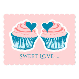 Cupcake Love custom text invitations