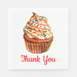 Cupcake Love - Red Thank You Wedding Party Paper Napkin