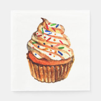 Cupcake Love - Red Wedding,  Party, Bridal Shower Paper Napkin